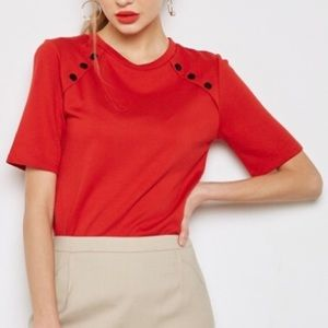 Red Mango Shirt with Button Accent Shoulders